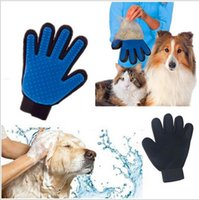 guantes de masaje para el cabello al por mayor-6 Color Pet Cleaning Brush Dog Comb Guante de silicona 2018 New Bath Mitt Pet Dog Cat Massage Depilación Eliminación Magic Deshedding Glove B