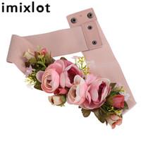 Wholesale flower belt elastic resale online - Imixlot Sweet Elegant Women Pink Flower Belt Elastic Waist Chain Wedding Buckle Waistband Boho Floral Belt Accessories