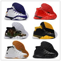 chaussures kb orange achat en gros de-2018 New kobe 1 Protro ZK1 Noir Or Rouge Thomas Camouflage Vert Gum Chaussures De Basket-ball pour Hommes KB One 1s Sport Baskets Sneakers Taille 40-46