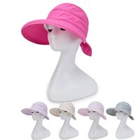 Wholesale purple cloche hat - Fashion Hepburn Wind Striped Hats Summer Women WHat Beautiful Women Beach Large Brimmed Hat Collapsible Breathable Cotton Women Summer Hats