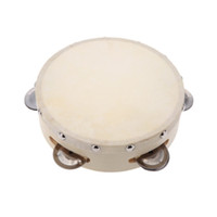 Wholesale toy tambourines resale online - 6in Hand Held Tambourine Drum Bell Metal Jingles Percussion Musical Toy for KTV Party Kids Games