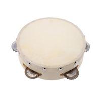 ingrosso campane musicali per bambini-6in Hand Tambourine Drum Bell Metal Jingles Percussion Musical Toy per KTV Party Giochi per bambini