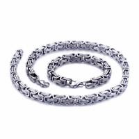 ingrosso braccialetto in acciaio inossidabile bizantino-5mm / 6mm / 8mm di larghezza Argento Re d'acciaio inossidabile a catena bizantina collana bracciale uomo gioielli fatti a mano