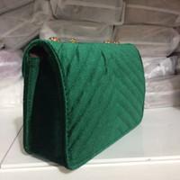 Wholesale design ladies bag totes handbag - 2018 New Design Women's Classic Hot Velvet Handbags Shoulder Tote Bag Gold Chain Bag four colors size 26cm With Free Shipping