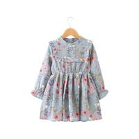 baby mädchen halbes kleid großhandel-2018 Herbst Baby Kleid Mädchen plissiert Half-Rollkragen Lotusblatt langärmeligen Chiffon Kleid lose Blumen gedruckt Kleid H076