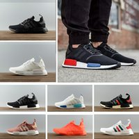 Wholesale Fall Knitting - 2018 NMD Runner R1 Primeknit OG Japan Black Triple White Nice Kicks Knit Men Women Running Shoes Classic Grey Red sport Sneakers 36-45
