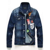 parches de chaqueta de jean vintage al por mayor-Nueva insignia Chaqueta de mezclilla Hombres Graffiti Vintage Patch Bomber Jacket Diseñador Motocicleta Biker Jeans Chaquetas para hombres Hip Hop Streetwear