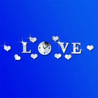 ingrosso orologio da parete dello specchio di modo-Lettera d'amore Originalità Adesivo da parete Orologio Personalità della moda Creativo Romantico Argento Colore Muto Specchio Orologi Home Decor 12jf jj