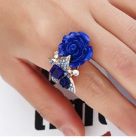 Wholesale Flower Wedding Rings - Blue Resin Rose Flowers Women Finger Ring Micro Inlay Full Blue Zircon Adjustable Wedding Prom Wedding Party Bridal Jewelry Accessories