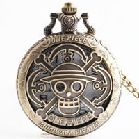 наручные часы магазин оптовых-One PIECE кварцевые античный Дракон карманные часы для мужчин и женщин ожерелье бесплатная цепь подарки аналоговые часы подарки