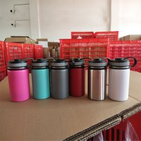 Wholesale steel travel coffee - 12oz Vacuum Water Bottle Insulated 304 Stainless Steel Water Bottle Travel Coffee Mug Wide Mouth Flip Cap Cups 6 color HH7-1160A