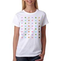 t-shirts musterbild großhandel-Frauen T-Shirt Niedliches Muster Emoji Bilder Frauen Weißes T-Shirt Neue Größen S - Xl Weiblich Perfekte Qualität Freizeitkleidung Für Frauen Female T-Shirt