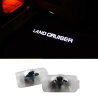 autotür laser schatten beleuchtung großhandel-2pcs LED Autotür Willkommen Laserprojektor Logo Ghost Shadow Light für Toyota Land Cruiser 2003 - 2017