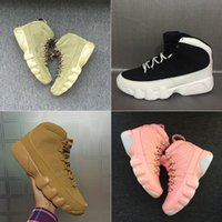 Wholesale High Boots For Womens - 2018 With Box Mens and Womens Basketball Shoes 9S for Men Sneakers Space Jam Black Olive Cool Grey Size US5.5-13 High Boots