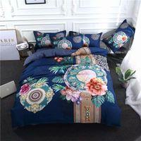 cama chinesa azul venda por atacado-2018 estilo chinês floral azul conjunto de cama de microfibra de poliéster rainha do rei king size 3/4 pc capa de edredão conjunto fronhas