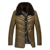couro pato para baixo casacos venda por atacado-inverno 2017 Men Novo PU Leather Down Jacket Men Casaco de pele gola do casaco homens Jaquetas de couro 90% pato branco para baixo Engrossado