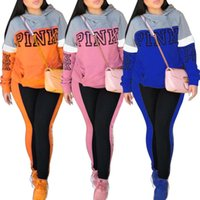 Wholesale women winter down pants - Pink Letter Print Women Hoodie and Long Pants 2pcs Set Ladies SweatShirts and Trousers Clothing Suit Spring Tracksuit Casual Sportswear