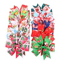 Wholesale baby girl hair accessories wholesale online - Christmas baby Girls hairpins dovetail Xmas Barrettes Bow with clip children hair accessories kids Santa Claus print Hair clips C4782