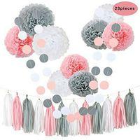 décorations de mariage gris achat en gros de-Rose gris blanc joyeux anniversaire Baby Shower Party Decor mariage Kit de décorations à suspendre avec des fleurs de tissu papier gland bannière points guirlandes