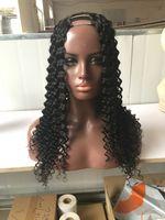 onda profunda parte de pelucas al por mayor-Pelo mongol 1x3 / 2x4 / 4x4 8-24 pulgadas onda profunda cabello humano U parte peluca pelo virginal brasileño medio / izquierda / derecha U parte pelucas de encaje para mujeres negras