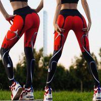 rote herzhose großhandel-CROSS1946 Yoga Pants Heart Print Leggings Damen Sport Fitness Strumpfhose Rot Schwarz Patchwork Running Sportswear Push Up Legency