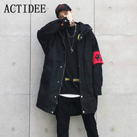 Wholesale Trench Coat Couple - Wholesale- 2017 Autumn 2018 Spring Hip Hop Couples Long Loose Trench Coat with Cap Windbreaker Men Yellow Black NO.A2.FY02-135.19