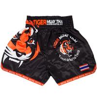 майа тайские боксерские шорты оптовых-ММА Тигр муай тай бокс брюки матч Санда обучение дышащие шорты Муай Тай одежда бокс Тигр Муай Тай ММА стволы