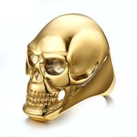Wholesale Titanium Skull Rings For Men - ORSA JEWELS Stylish Stainless Steel Black  Gold Skull Ring for men 2017 New Fashion Men's Retro Jewelry OTR92