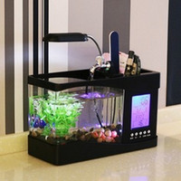 Wholesale Led Lighting For Night Fishing - Creative Household Aquarium Mini USB LCD Desktop LED Night Light Fish Tank For Home Decor Aquariums White Black 8 5fc Y