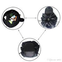 Wholesale large black designer handbags resale online - Black Drawstring Handbag Lazy Large Capacity Makeup Cosmetic Storage Bag Portable For Outdoor Travel Storage Bundle Pocket js ZZ