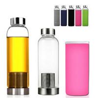 ingrosso bambini auto sportive-Bottiglia di acqua di sport di vetro libera di 550ml BPA con il sacchetto protettivo dell'infusore del filtro dal tè all'aperto dell'automobile di viaggio Coppe AAA663 degli adulti