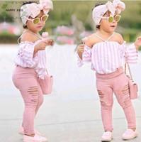 bebek mavisi üstleri toptan satış-Çocuklar Bebek Kız şerit Kapalı Omuz Asılı boyun Üst + pembe delik pantolon Kıyafetler Giysileri Yaz 3 Adet Çocuk Kız Giyim Seti Dtz376