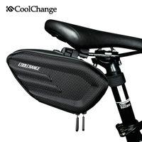 cycling saddle seat Canada - CoolChange Bicycle Saddle Bag Waterproof MTB Bike Rear Bag Reflective Cycling Rear Seat Tail Large Bag Bike Accessories