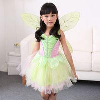 fada princesa menina flor vestidos venda por atacado-Princesa Cosplay New Halloween verde As meninas Fairy Tale Princess Dress Costume Halloween Childs fada verde Flor