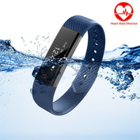Wholesale Pulse Vibration - ID115HR Heart Rate Monitor Smart Bracelet Fitness Tracker Step Counter Activity Monitor Band Alarm Clock Vibration Wristband for IOS Android