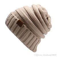 Wholesale brand cc online - Women s Fashion Knitted Cap Autumn Winter Men Cotton Warm Hat CC Skullies Brand Heavy Hair Ball Twist Beanies Solid Color Hip Hop Wool