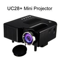 mini levou 3d projector de bolso venda por atacado-UC28 + Portátil 3D LEVOU Projetor Cinema Teatro USB / SD / AV Entrada HDMI VGA Mini Multimídia de Entretenimento de Bolso Beamer Preto / Branco