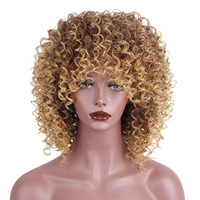 Wholesale short kinky wig - AISI HAIR Synthetic Wigs Afro Kinky Curly Wig for Black Women Mixed Color Blonde and Brown Short Curly Natural Wig with Bangs