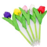 ingrosso piantare piante di tulipani-Carino colorato tulipano penna a sfera PU simulazione pianta fiori penna a sfera 0.7mm blu inchiostro regalo di cancelleria