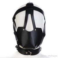 Wholesale leather face mask sex - Adult Studded Genuine leather or Faux leather Head Harness Muzzle Gag with Neck Strap Sex Bondage Fetish Restraint Face Mask Punk Hoods