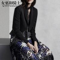 falda grande abrigos al por mayor-Autumn Suit Female, 2018 New Style of Yuan, Black Body Show Thin Coat, Impresión de moda Big Pendulum Skirt, Long Skirt Juego de dos piezas