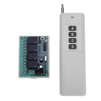 interruptor de control inalámbrico al por mayor-ALEATORIO DC12V 4 canales Interruptor de placa de circuito inalámbrico + Control remoto 433MHz Distancia de control remoto 1000 metros