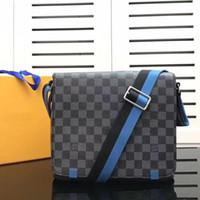 ingrosso cartelle nere-2018 New Fashion Brand Designer Uomini Borsa in vera pelle Borsa nera Messenger portatile Messenger Bag di alta qualità