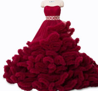 Wholesale toddlers pictures online - Real photo winter Luxury Pregant Top Quality Lace Up Cloud puffy Wedding Dress Burgundy Bridal Gowns Robe De Mariage Rouge