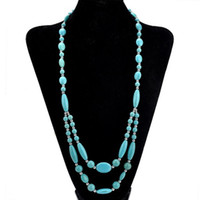 Wholesale beaded necklaces resale online - Fashion Unique White Blue Turquoise Necklace Women Handmade Stone Beaded Chain Necklaces Long Statement Choker Jeweley Gifts