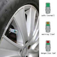 sensor de presión de neumáticos de coche al por mayor-4 Unids / set Neumático de automóvil Indicador de alerta de presión de aire Válvula de automóvil Sensor de monitor de vástago Tapas Neumático de automóvil 2.2 Bar (32PSI) o 2.4 Bar (36PSI)