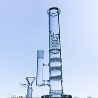 Wholesale pinch bowls resale online - Triple Comb Birdcage Perc With Ice Pinch And Bowl Glass Bongs Dab Oil Straight Tube Rigs Bong Smoking Water Pipes HR316