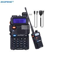 vhf radio uv 5r al por mayor-Baofeng UV-5R 8W de alta potencia VHF / UHF 136-174 / 400-520MHz de banda dual FM True bidireccional de radio para walkie talkie + programación MIC +
