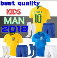 Wholesale brazil brazilian - kids adult 18 19 Brazilian home Jersey 2018 Soccer Jersey Football Uniform Brazil Blue Jersey G.JESUS NEYMAR JR FIRMINO BOYS MAN