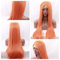 Wholesale Orange Front Lace Synthetic Wig - New Cosplay Orange Long Silky Straight Party Wigs with Baby Hair Heat Resistant Glueless Synthetic Lace Front Wigs for Black Women